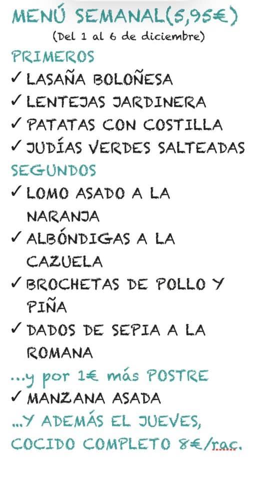 Menú semanal CocinArte Ciudad Rodrigo del 2 al 6 de Diciembre