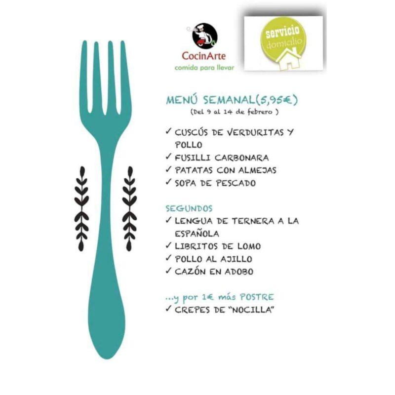 Menú de la semana CocinArte del 9 al 14 de febrero