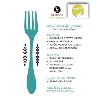 Menú de la semana en CocinArte del 23 al 28 de febrero