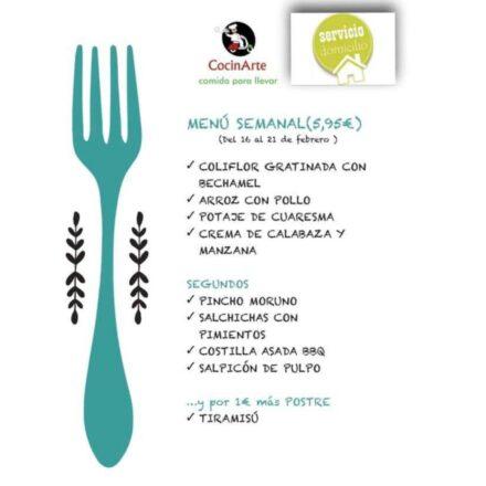 Menú de la semana en CocinArte del 16 al 21 de Febrero