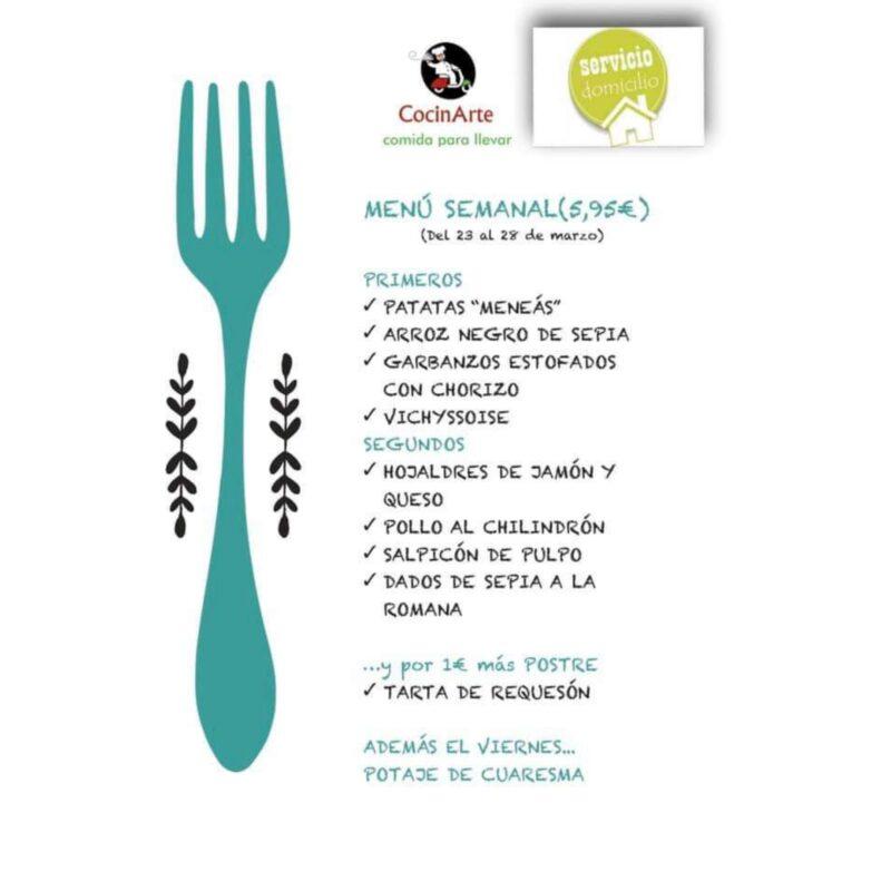 Menú de la semana en CocinArte del 23 al 28 marzo