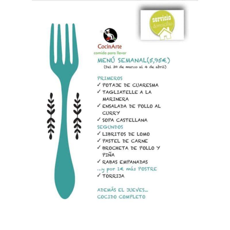 Menú de la semana en CocinArte del 30 de marzo al 4 de abril