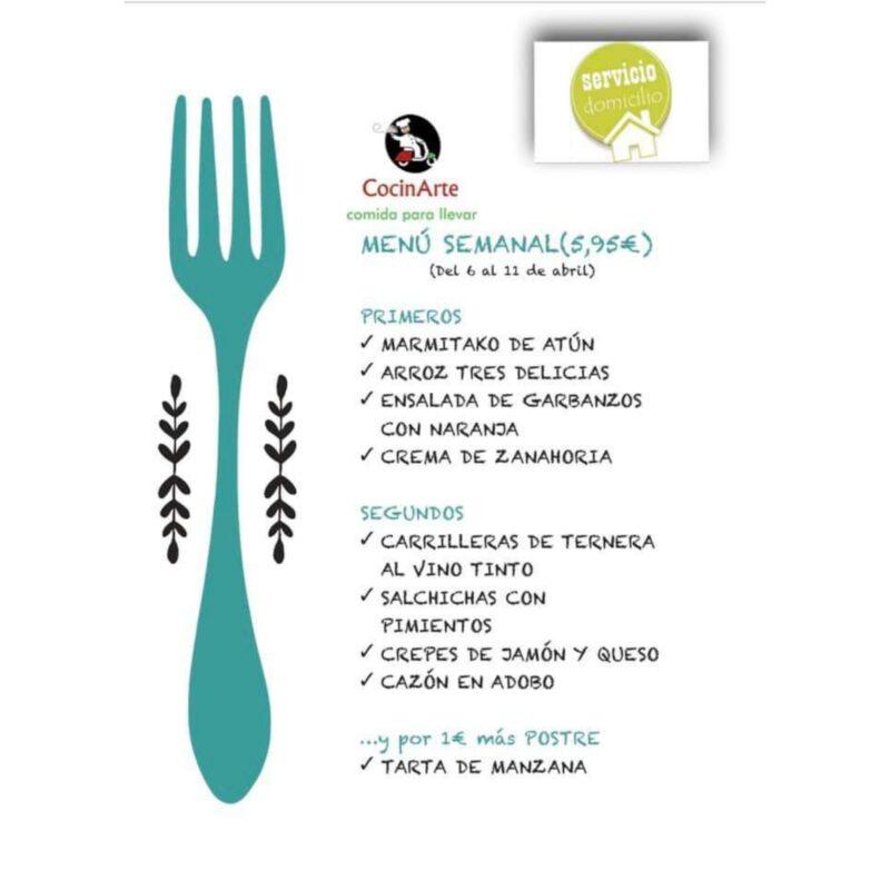 Menú de la semana en CocinArte del 6 al 11 de abril