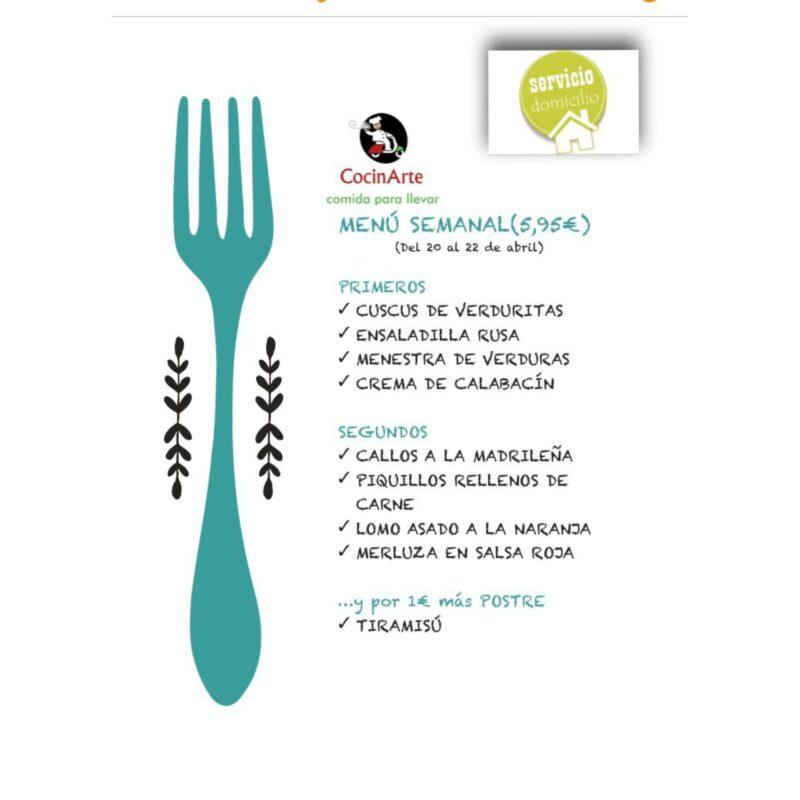 Menú de la semana en CocinArte del 20 al 22 de abril