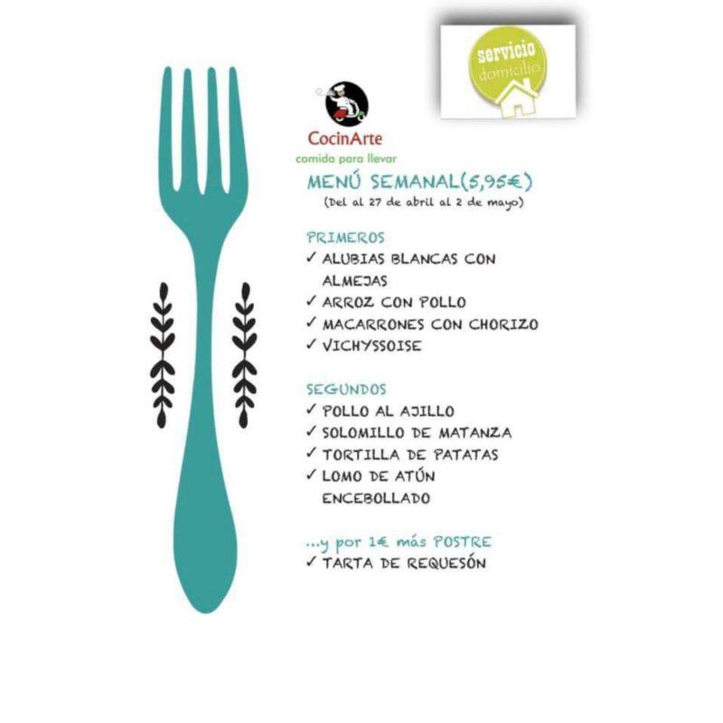 Menú de la semana en CocinArte del 27 de abril al 2 de mayo