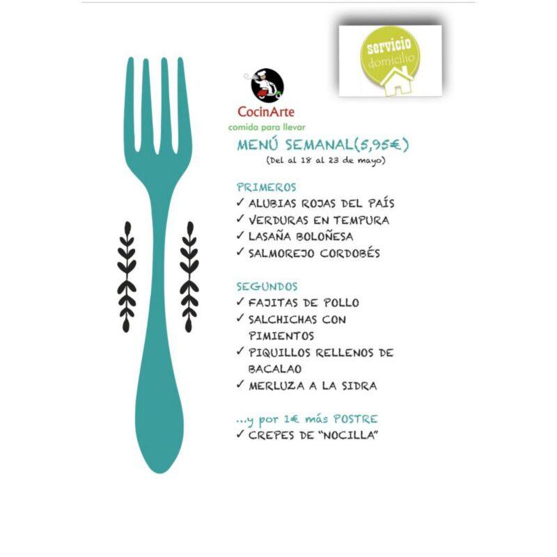 Menú de la semana en CocinArte del 18 al 23 de mayo