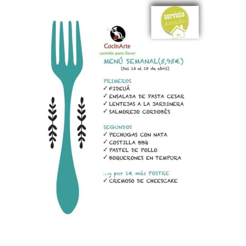 Menú de la semana en CocinArte del 13 al 18 de abril