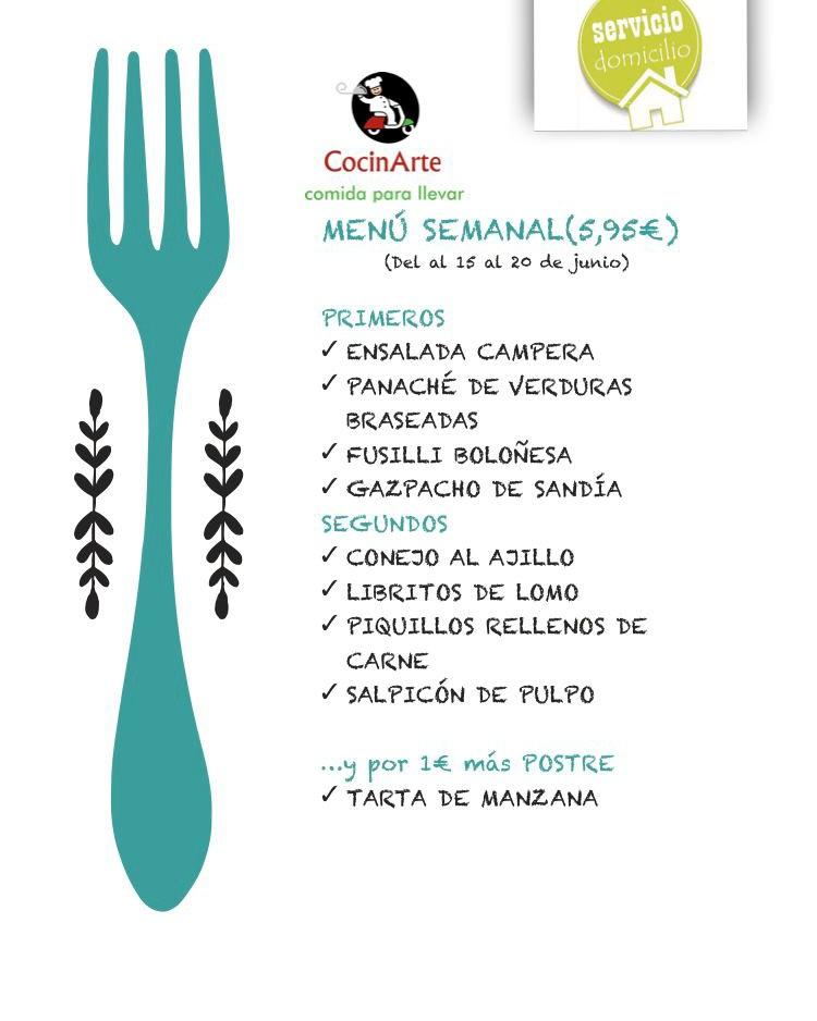 Menú de la semana de CocinArte del 15 al 20 de junio