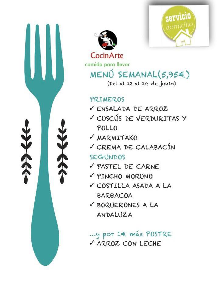 Menú de la semana de CocinArte del 22 al 24 de junio