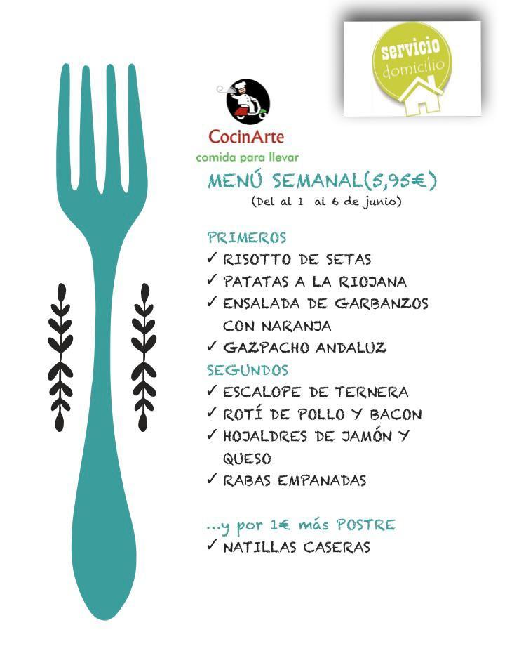 Menú de la semana en CocinArte del 1 al 6 de junio
