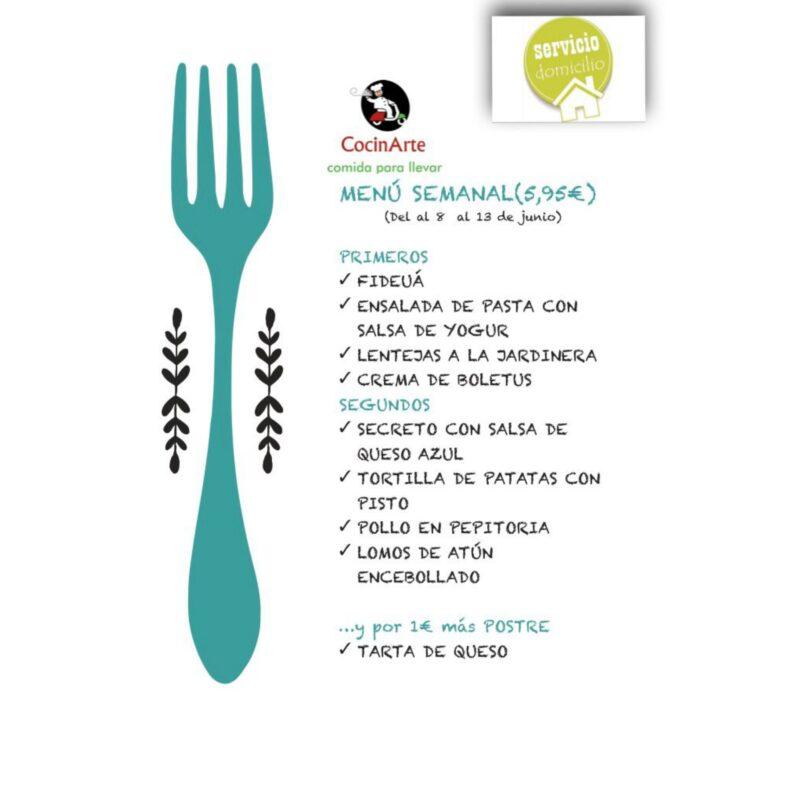 Menú de la semana en CocinArte del 8 al 13 de junio
